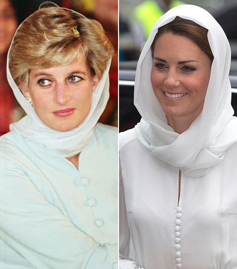 KendőDiana akkor tett kendőt a fejére, amikor 1996-ban a pakisztáni Shaukat Khanum Memorial Kórházba látogatott. Katalin hercegnő 2012-ben, a malajziai körút során tekert kendőt a fejére.