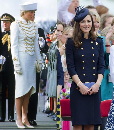 Military stílusDiana 1987-ben Surrey-ban jelent meg a parádén ebben az arany paszománnyal díszített Catherine Walker ruhában 1987-ben. Katalin 2011-ben mutatkozott egy hasonló Alexander McQueen szettben.