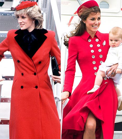 Piros kabátDiana feltűnő volt piros színű Catherine Walker kabátjában, amikor leszállt a magánrepülőről 1984-ben. Katalin hercegnő 30 évvel később landolt egy hasonlóan látványos ruhadarabban Új-Zélandon.
