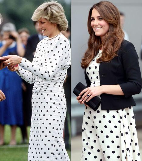 Pöttyös ruhaDiana hercegnő 1987-ben mutatkozott Victor Edelstein pöttyös ruhájában egy pólómeccsen, míg Katalin, György herceggel a pocakjában, a Warner Bros. stúdiójában járt Londonban, 2013-ban, egy hasonló öltözékben.