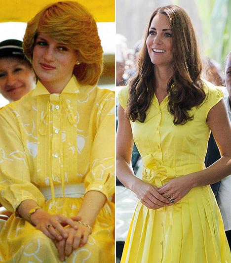 Sárga ruhaDiana 1983-ban Ausztráliában és Új-Zélandon járt, a hivatalos események egyikén viselte ezt a vidám sárga ruhát, Katalin hercegnő 2011-ben bújt hasonlóba.