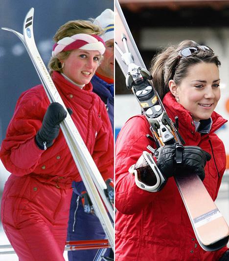 SíruhaMég ebben is hasonló az ízlésük: Dianát 1985-ben, Katalint pedig 2005-ben fotózták hasonló piros síoverálban.