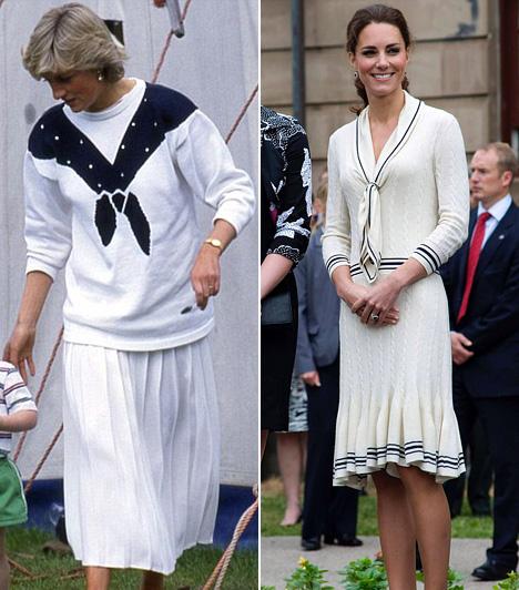 TengerészruhaDiana hercegnőt 1987-ben fotózták le ebben a fehér-kék ruhában, míg Katalinon 2012-ben, a wimbledoni teniszmérkőzések alatt volt egy hasonló Alexander McQueen összeállítás.