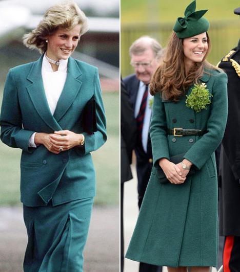 Zöld kabátDiana ezen az 1983-as fotón Jasper Conran kabátját viseli, Katalin pedig a 2014-es Szent Patrik nap alkalmából bújt hasonló zöld kabátba.