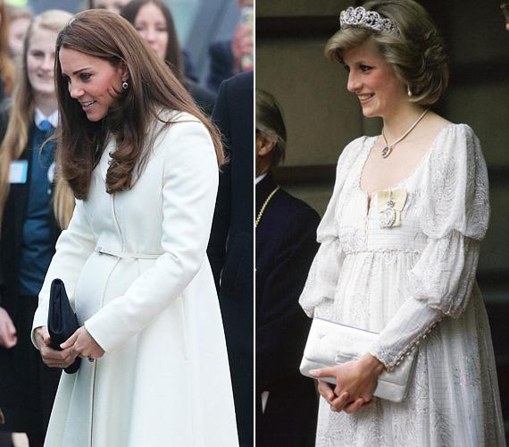 Katalin hercegnő márciusban a Downton Abbey sorozat forgatásán járt ebben a fehér JoJo Maman Bebe kabátban. Diana szintén viselt fehéret a várandóssága idején, 1984 májusában mutatta meg magát a Londoni királyi akadémián ebben a fehér báliruhában.