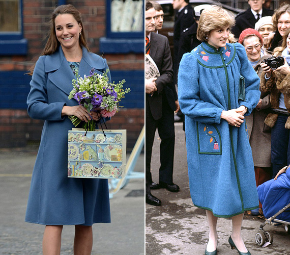 A kék kabátot Katalin akkor vette fel, amikor az Emma Bridgewater porcelángyárba látogatott februárban. Diana 1982 januárjában viselt egy hasonló színű kabátot.
