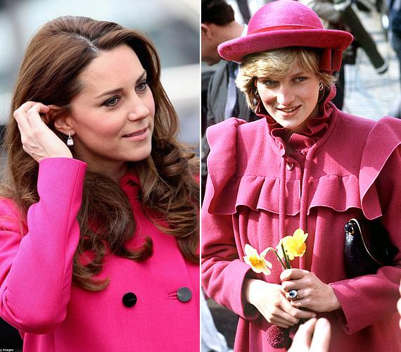 Katalin utoljára a feltűnő pink kabátban mutatkozott a világ előtt áprilisban. Diana is szerette a nőies színt, ez a kabát 1982 áprilisában volt rajta, amikor Liverpoolba látogatott.