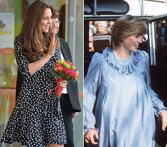 Szintén márciusban a Woolwich-i Brookhill Gyermekköztpontba látogatott a nyolc hónapos terhes Katalin hercegnő a pöttyös Asos ruhában. Diana is szerette a pöttyöset, ez a kék ruha 1984 áprilisában volt rajta.