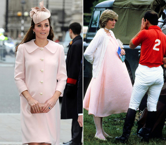Katalin a halványrózsaszín Alexander McQueen ruhát a Nemzetközösségi napon viselte március 9-én. Dianát a könnyed, rózsaszín ruhában 1982 júniusában kapták le, amint férjével, Károly herceggel beszélgetett egy pólómeccsen.
