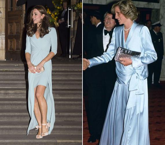 Katalin hercegnő a második terhessége elején viselte a halványkék selyemruhát, 2014 októberében. Diana 1984 júniusában tette tiszteletét a kék Catherine Walker estélyiben az Indiana Jones és a végzet temploma premierjén Londonban.