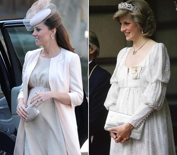 Tört színű ruha: Katalint 2013 júniusában fotózták le ebben a Jenny Packham csipkeruhában és barackszín kabátkában, a királynő megkoronázásának 60. évfordulójára rendezett ünnepségen. Diana 1984 májusában mutatta meg magát a Londoni királyi akadémián ebben a fehér báliruhában, melyhez a Spencer család tiaráját viselte.