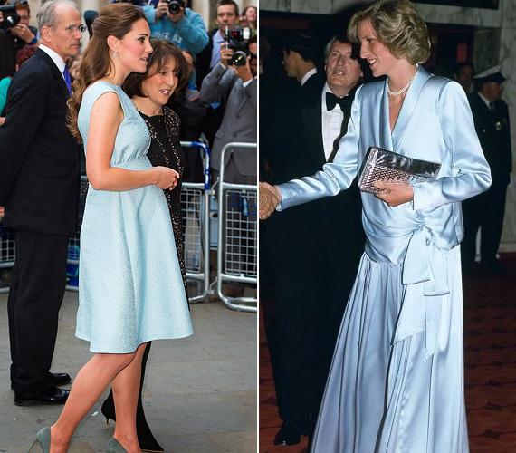 Halványkék ruha: Katalin a londoni Nemzeti Portrégalériába látogatott a babakék ruhában 2013 áprilisában, Diana pedig 1984 júniusában tette tiszteletét a kék Catherine Walker estélyiben az Indoana Jones és a végzet temploma premierjén Londonban.