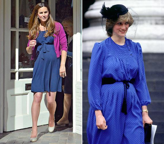 Kék ruha: Katalint 2013 júniusában kapták le a kék Asos dresszben, amikor éppen egy bútorboltból távozott Londonban. Diana nem sokkal Vilmos születése után mutatkozott a kék pöttyös ruhában 1982 júliusában.