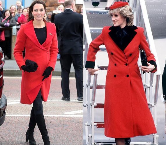 Piros kabát: Katalin Skóciában viselte ezt az élénkpiros Armani kabátot 2013 áprilisában, míg Diana akkor húzott fel hasonló piros kabátot, amikor 1984 márciusában Leicesterbe látogatott.