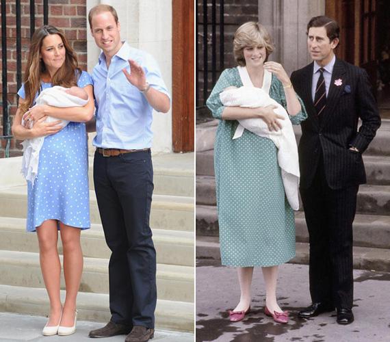 Pöttyös ruha szülés után: Katalin 2013. július 23-án, György herceg születése után egy nappal fotózkodott férjével és a kisbabával a kórház előtt. Csakúgy, mint Diana és Károly 1982 júniusában, a kis Vilmos herceggel.