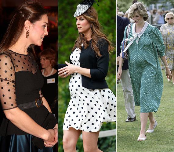 Pöttyös ruha: Katalin a november 19-i rendezvényen a Kensington palotában egy pöttyös felsőt viselt, 2013 áprilisában pedig egy fekete-fehér pöttyös ruhácskát, amikor a Warner Bros. stúdiójába látogatott Angliában. Diana 1982 júniusában jelent meg ebben a zöld, fehér pöttyös ruhában, alig két héttel Vilmos születése előtt.