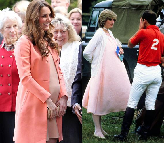 Halványrózsaszín ruha: Katalin testszín dresszben és halványrózsa kabátkában tette tiszteletét 2013 áprilisában a Naomi House Children's Hospice házban. Dianát 1982 júniusában kapták le a rózsaszín ruhában, amint férjével, Károllyal beszélgetett.