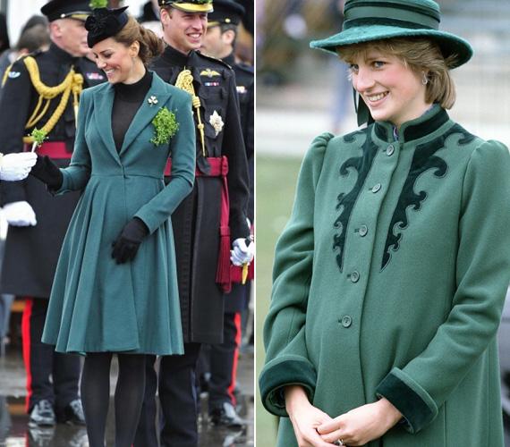 Zöld kabát: Katalin 2013 márciusában Szent Patrik napján jelent meg ebben a karcsúsított zöld kabátban. Diana szintén egy hasonló rendezvényen jelent meg 1982 márciusában a Bellville Sassoon kabátban és John Boyd kalapban.