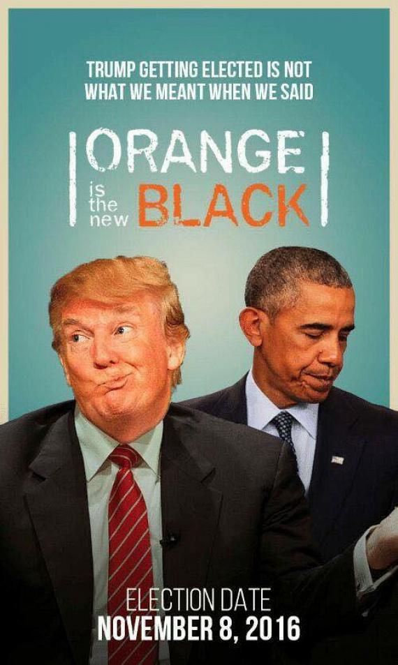 Sokan felfedezték, hogy a nagy sikerű Orange is the new Black - szabad fordításban: A narancssárga az új fekete - sorozat címe remekül utal az ex- és a jelenlegi elnök bőrszínére.