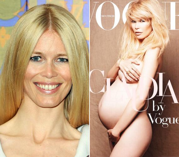 Claudia Schiffer 2010-ben harmadik gyermekével, Cosima Violettel volt várandós, amikor meztelenül szerepelt Vogue címlapján.