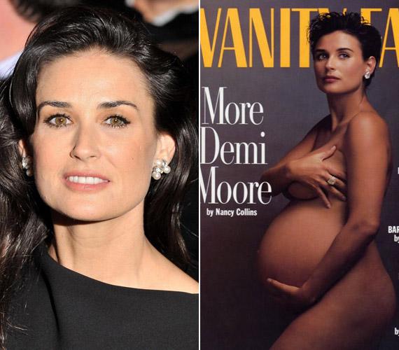 Demi Moore a Vanity Fair 1991-es címlapján - a színésznő volt az első azon hírességek sorában, akik meztelenül, babapocakkal pózoltak a címlapon.