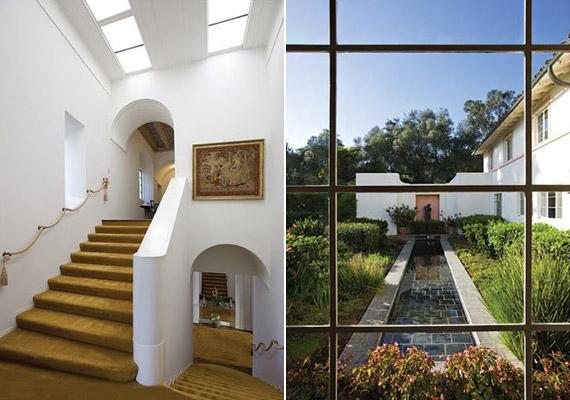 A lépcsőház és a hátsó kert spanyolos hangulatú: letisztult, fehér falak, zöld lugas és beömlő napfény teszi barátságossá a villát.