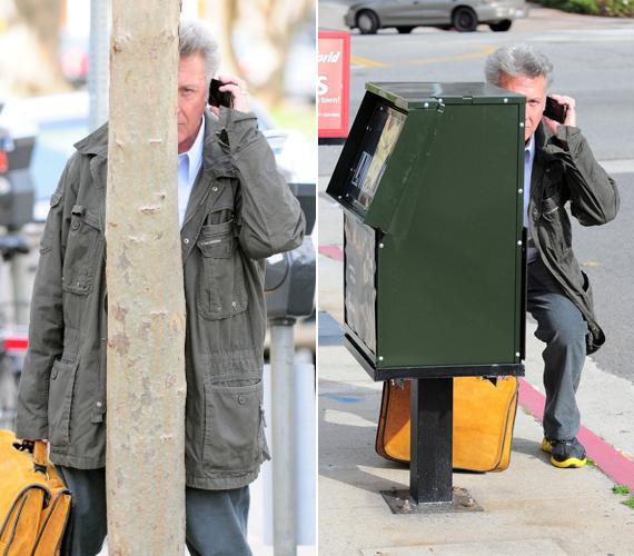 Dustin Hoffman azonnal igyekszik elbújni valami mögé, ha lesifotóst lát, ám ez nem mindig sikerül neki igazán jól. A jó humorú színész ezekkel a képekkel még több rajongóra tett szert.