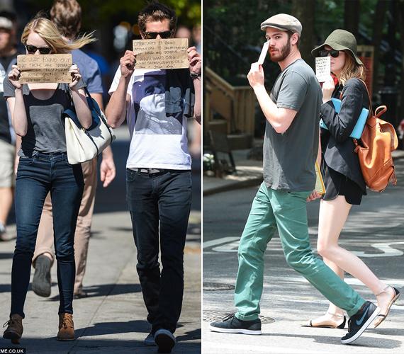 A 26 éves Emma Stone és a 31 éves Andrew Garfield 2011-ben A csodálatos Pókember című film forgatásán jöttek össze, bár nemrégiben szakítottak. Egy alkalommal, amikor észrevették, hogy az étterem előtt, ahol épp ebédelnek, fotósok várják őket, gondoltak egyet és kis táblákra írták egy segélyszervezet nevét. Ezt tartották az arcuk elé.