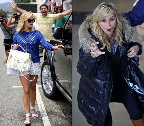 A bal oldali kép nem is igazán Reese Witherspoon miatt vicces, hanem sárga pólóban ujjongó rajongója miatt, aki valószínűleg akaratán kívül photobombolta a fotót. A jobb oldalon a színésznő egészen érthetetlen arcot vág, mindenki döntse el maga, mi volt ezzel a célja.