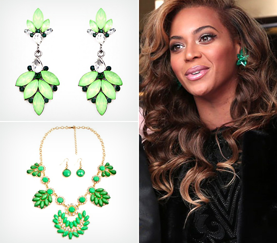 Beyoncét rengetegszer látni harsány színekben, holott ez az egyszerű fekete ruha is gyönyörűen kiemeli szépségét, és a smaragd fülbevaló igazán elegáns nővé varázsolja.                         Zöld fülbevalóval te is kiemelheted a nyaraláson szerzett barnaságodat. Kattints, és válaszd ki a neked tetszőt!