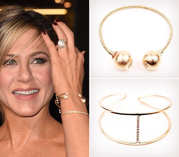Jennifer Aniston az egyszerű arany ékszereket kedveli, és a nyakláncok mellé szívesen választ karkötőt. Többek között a képen látható izgalmas kialakítású, ám formailag visszafogott, szépen csillogó arany karperecet.                         Tetszik neked is? Akkor nézd meg a Jennifer karperecéhez hasonló karkötőinket most!
