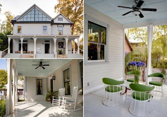 A veranda két elszeparált résszel is büszkélkedhet: a tornácról természetesen nem hiányozhatnak a hintaszékek sem. A mennyezetről tipikus, nagy lapátos, a ház stílusához illeszkedő ventilátor köszön vissza.