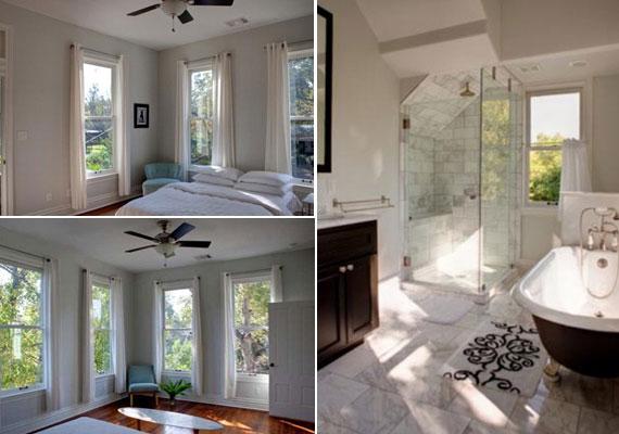 Az egész házban a krém- és a fehér szín dominál, a padló és a bútorok sötétbarna faelemeivel. Négy hálószoba és ugyanennyi fürdőszoba biztosítja a kényelmet.