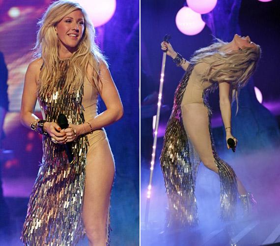 Az énekesnőt nem feszélyezte viselete, produkciója közben bátran mozgott a lenge viseletben.
