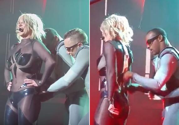 Britney Spearsen a Las Vegas-i koncertjén szakadt szét a ruhája cipzárja. Táncosai megpróbálták visszahúzni, de hiába, így kellett végigtáncolnia a számot.