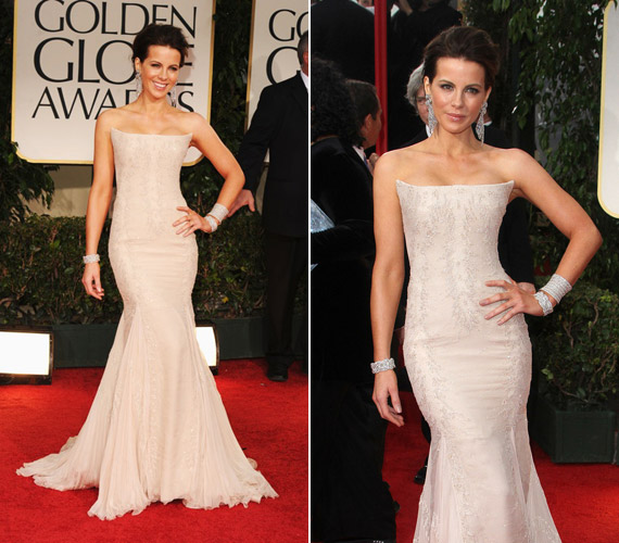 Kate Backinsale finom stílusához illő, krémszínű ruhát viselt a Golden Globe-gálán.