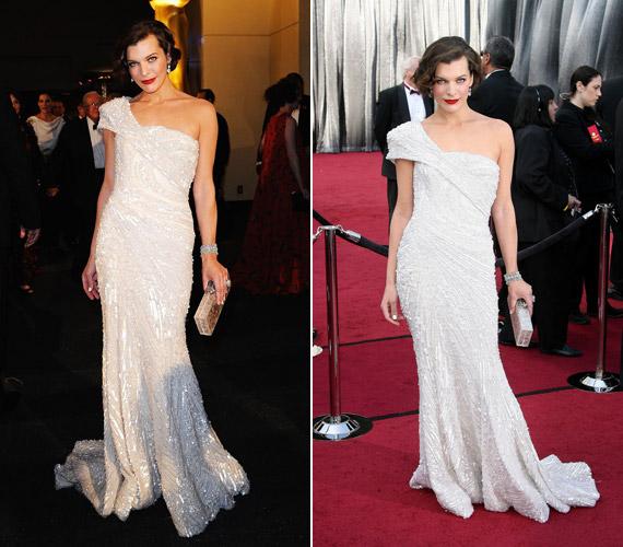 Milla Jovovich ebben a gyönyörű, krémszínű ruhában pompázott az Oscaron.
