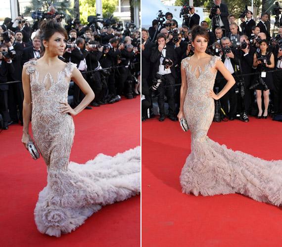 Eva Longoria ezzel a hosszú, uszályos ruhával elérte, hogy a figyelem középpontjába kerüljön a Cannes-i Filmfesztiválon.