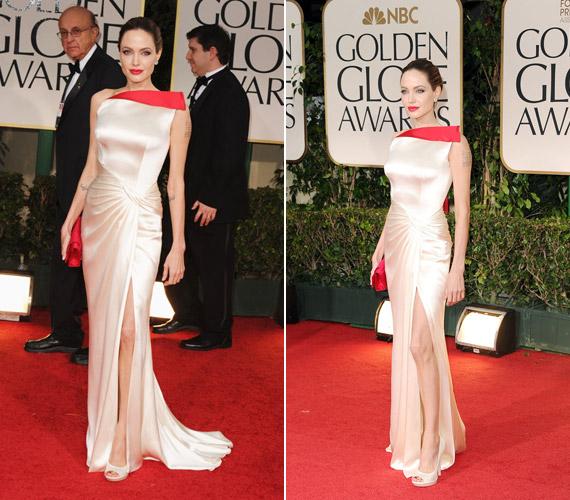 Angelina Jolie ebben az elegáns ruhában jelent meg a Golden Globe-on.