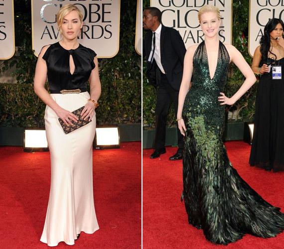 A mélyen dekoltált ruhák is sikert arattak a Golden Globe-on: Kate Winslet és Evan Rachel Wood színésznők merész kivágású estélyit viseltek az est folyamán.