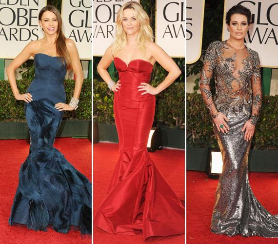 A Golden Globe-on hódított a testhez álló ruha: Sofia Vergara csodás kékben, Reese Witherspoon pedig vörösben pompázott. Lea Michelle színész-énekesnő még ennél is merészebb ruhát választott: ezüstszínű estélyijének felső része nem sokat takart.