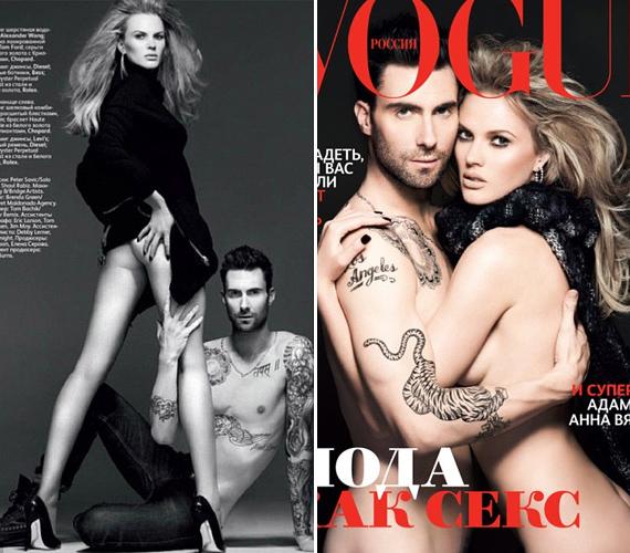 Az orosz Vogue októberi számán Adam Levine és modell barátnője pózolnak - a címlap még csak hagyján, de belső fotón az énekes fél felsőteste hiányzik az átkarolt láb mellől.