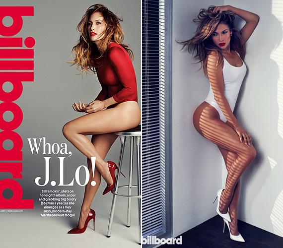 Jennifer Lopez 2014 júniusában állt modellt a Billboard magazinnak, az akkor 44 éves énekesnő szexisen nézett ki a vörös és a fehér dresszekben. A kétgyermekes sztár karcsú alakját tánccal és kocogással őrzi.
