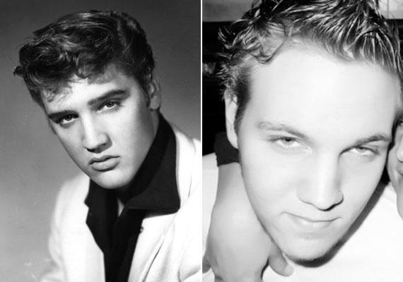 Elvis pályája kezdetén festette a haját feketére, eredetileg szőkésbarna volt. A 23 éves Benjamin Elvis lányának, Liza Marie Presley-nek a fia. A fotón jól látszik, hogy a szemét, az orrát és az álla formáját híres nagyapjától örökölte.