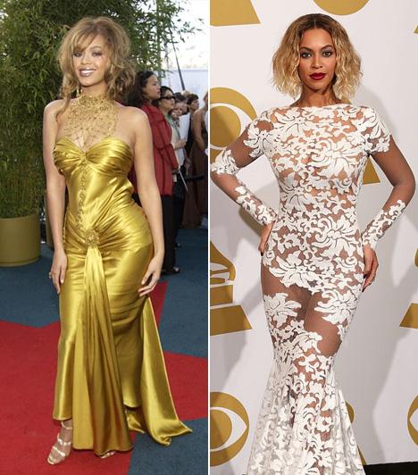 Beyoncé                         Beyoncé arany dressze a 2004-es évből meglehetősen feltűnő választás volt. Nem kevésbé a hófehér Michael Costello csipkeruha, melyet 10 évvel később húzott fel a rangos zenei díjátadóra.