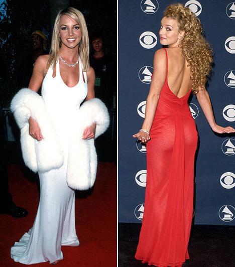Britney Spears                         A tinisztárként befutó Britney Spears első Grammy-momentuma volt az ártatlan, fehér ruhás szett 2000-ben. Két évvel később már egy alakot hangsúlyozó, áttetsző piros ruhában vonta magára a figyelmet - és ilyen göndör fürtökkel sem gyakran láttuk.