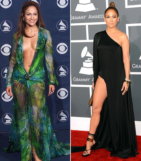 Jennifer Lopez  A Grammy történetének kétségkívül egyik legemlékezetesebb ruhája volt Jennifer Lopez zöld Versace dressze, melyet 2000-ben viselt a díjátadón. Ezt azóta sem sikerült felülmúlnia, bár ez a fekete ruha a 2013-as gáláról is vonzotta a tekinteteket.