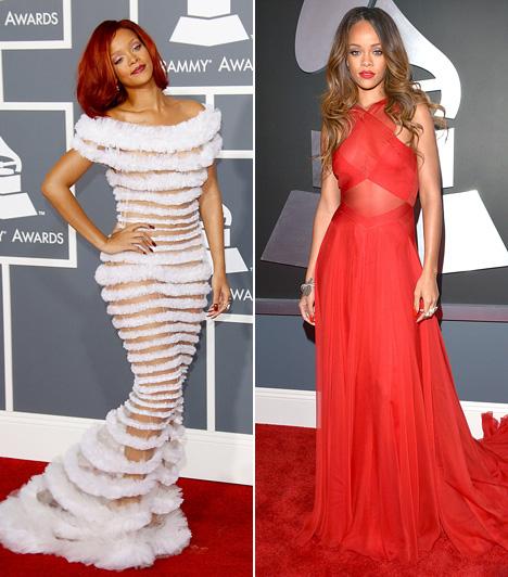 Rihanna                         Rihanna sosem megy a szomszédba egy kis botrányért, a vörös szőnyegen is szeret meghökkenteni, bár a Grammyn eddig - önmagához képest - visszafogta magát. A 2011-es díjátadón azért kétségkívül sokan felkapták a fejüket, amikor megjelent a Jean Paul Gaultier által tervezett fehér ruhában. Két évvel későbbi vörös estélyije pedig már csak a színe okán sem hagyta beleolvadni a tömegbe.