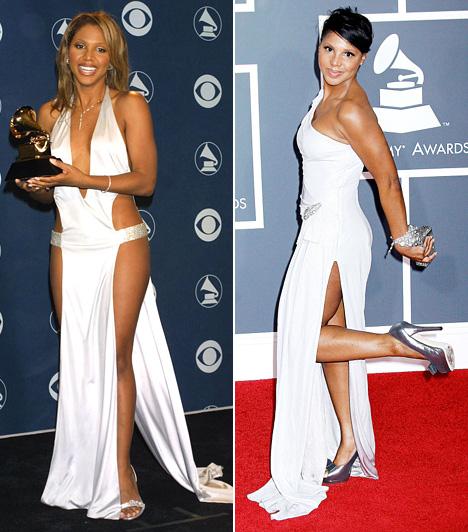 """Tony Braxton                         """"Eldöntöttem, hogy még mielőtt férjhez megyek és gyerekeim lesznek, viselem ezt a dresszt"""", válaszolta Tony Braxton, amikor megkérdezték, nem találta-e túl merésznek a Richard Tyler által tervezett, ruhának is alig hívható valamit, amit a 2001-es Grammyn viselt. 2010-ben szintén fehér volt rajta, de azért hol volt az a slicc a másik ruhához képest!"""