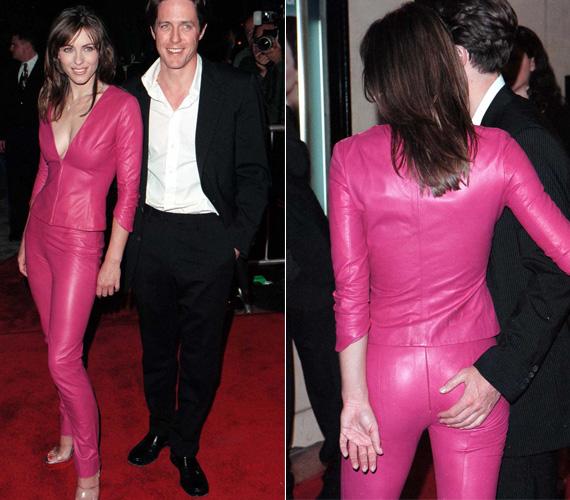 Elizabeth Hurley még a bőrruha viselésében is extrém tud lenni: a megszokott feketétől eltérően rikító pinkben pompázott.